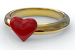 Gold ring with red heart