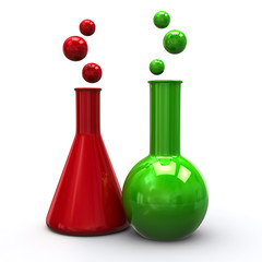 Red and green laboratory icon