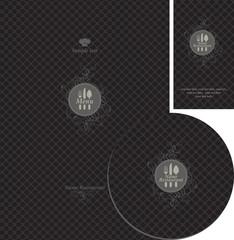 set of design elements for the cafe on black background