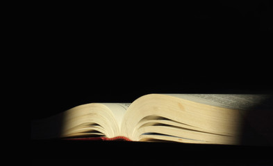 book on a dark background