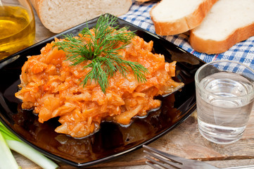 fried cabbage, vodka, bread and chives