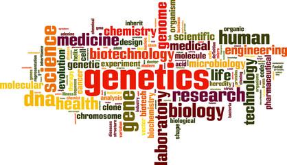 Genetics word cloud concept. Vector illustration