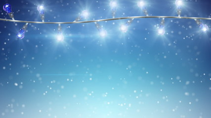 flashing christmas lamps and snowfall loopable background