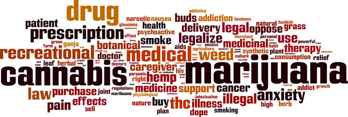Marijuana word cloud concept. Vector illustration