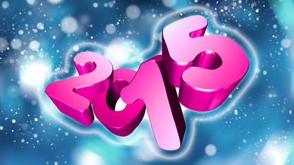 Number 2015 in 3D on blue background