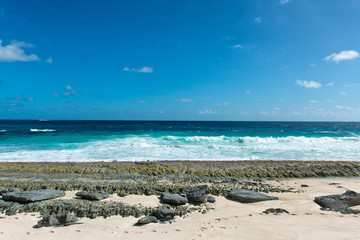 Seascape of Enchanting Beach at Mahe, Seychelles
