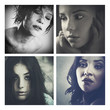 Set of assorted grungy female portraits for your design
