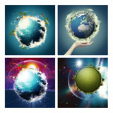 Set of assorted environmental backgrounds for your design. NASA