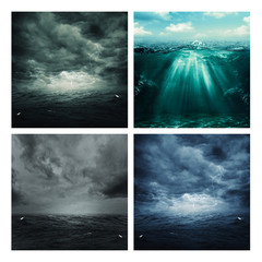 Set of assorted marine backgrounds for your design
