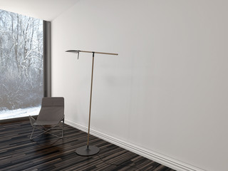 Chair under a modern lamp in a stark living room
