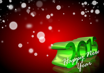 Number 2015 in 3D on red background