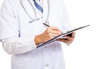 Asian male doctor write  on clipboard