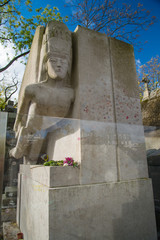 Famous writer Oscar Wilde tomb in Paris, France