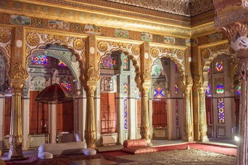 Interior of a palace in Meherangarh For