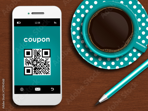 canvas print picture mobile phone with discount coupon, cup of coffee and pencil lyin