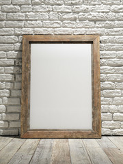 Interior eith frame poster background, white brick wall