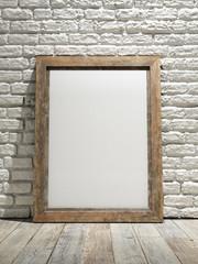Interior eith frame poster background, white brick wall