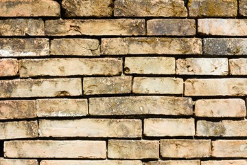 very old brick wall close-up background