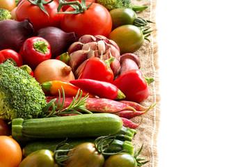Colorful vegetables border