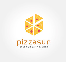 Abstract pizza vector logo icon concept. Logotype template for