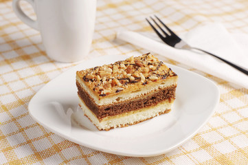 Sweet cake with nuts