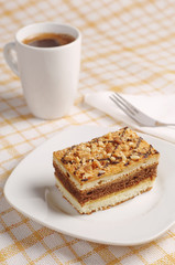 Cake with nuts and coffee