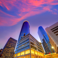 Houston Downtown skyline sunset at Texas US