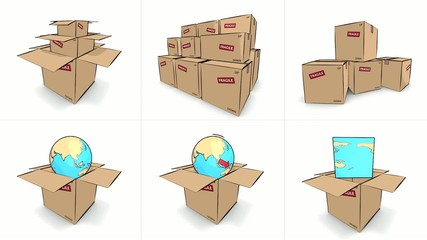 animated icon, cartoon style, cardboard box and world glob
