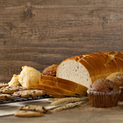 Bakery products on wooden table. Selective focus.