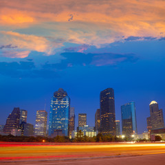 Houston downtown skyline at sunset dusk Texas