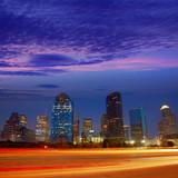 Houston downtown skyline at sunset dusk Texas