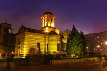 Biserica Sfantul Anton at night in Bucharest