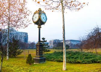 Traditional clock in Parcul Unirii park, Bucharest