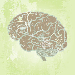 Grunge background with brain