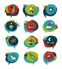 Christmas bubble speech banner design flat background set, eps10