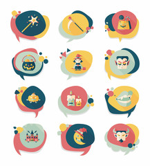 Halloween bubble speech banner design flat background set, eps10