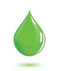 Green drop of poison or chemical