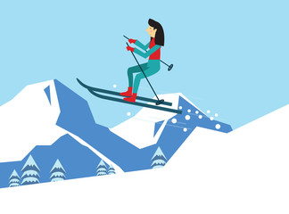 young woman skiing. flat character design. vector