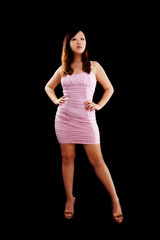 Young Chinese Woman Standing Pink Dress Confident