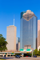 Houston skyline from Allen Parkway at Texas US