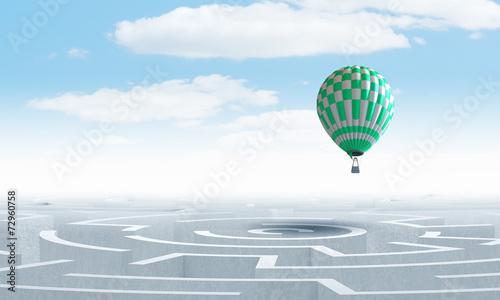 Foto Spatwand Ballon Aerostats in sky