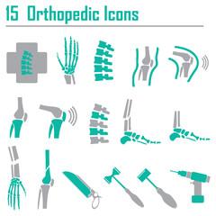 15 Orthopedic and spine symbol - vector illustration