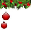 Holly sprigs and fir branches with two red Christmas balls isola