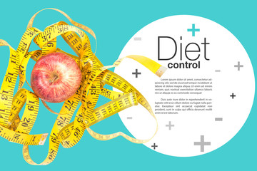 healthy diet concept , apple and a measuring tape.