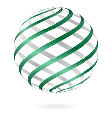 Green spiral logo ball template isolated on white