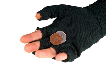 Homeless beggar with glove