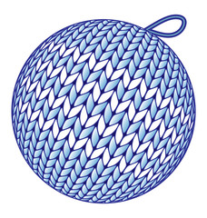 Blue knitted Christmas ball without shadow isolated on white bac