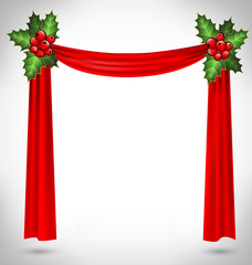 holly sprigs hold red curtain on grayscale background
