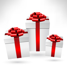 Three grayscale gift boxes with red bows on grayscale background