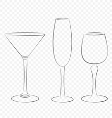 Three isolated outline glass for alcohol drinks